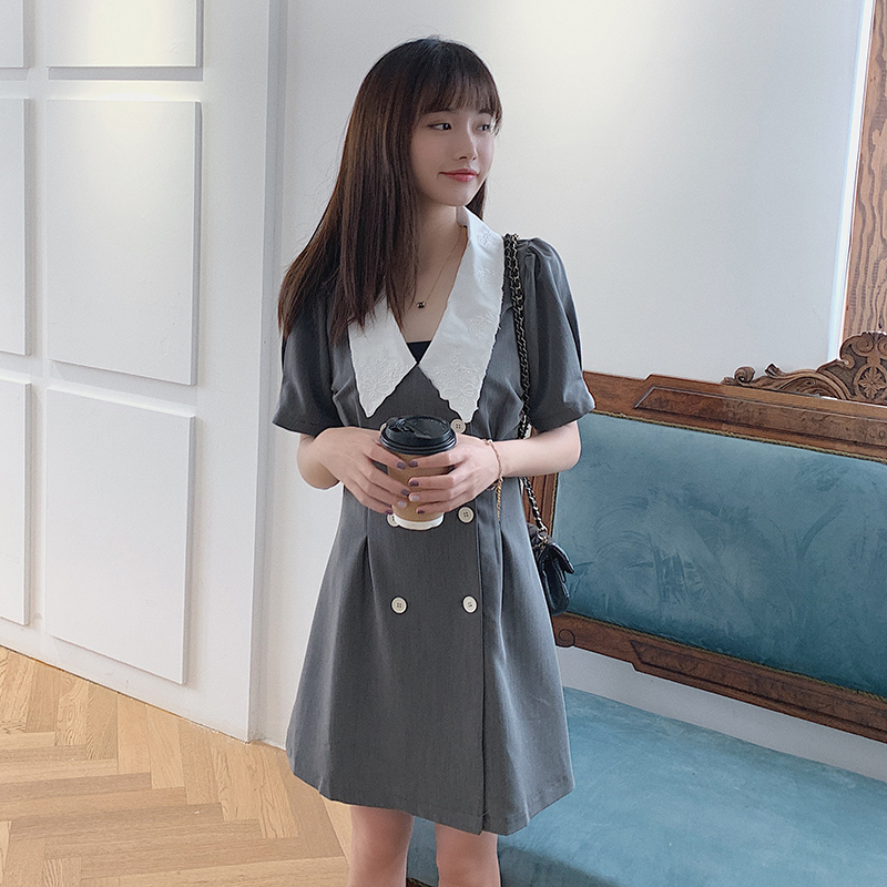 Baby collar dress female summer Korean student waist show thin college style sweet little suit A-line skirt