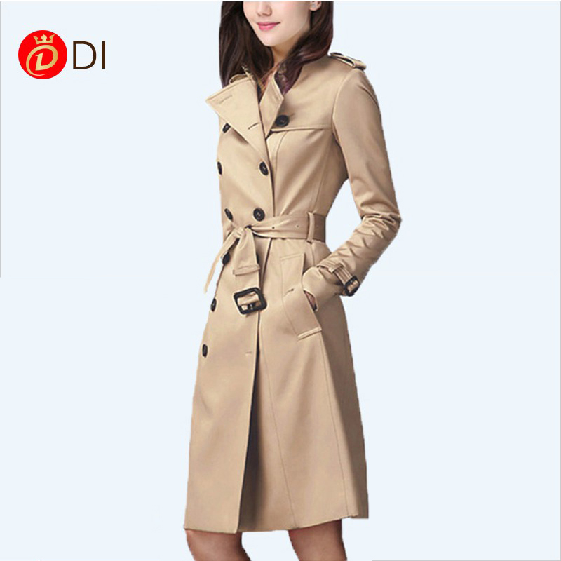 2018 spring and autumn new windbreaker womens medium length high waist European and American British style double breasted slim windbreaker large womens dress
