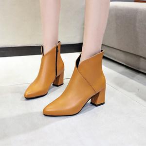 2019春秋冬季新款粗跟中跟马丁靴女高跟鞋女鞋短靴女及裸靴子踝靴
