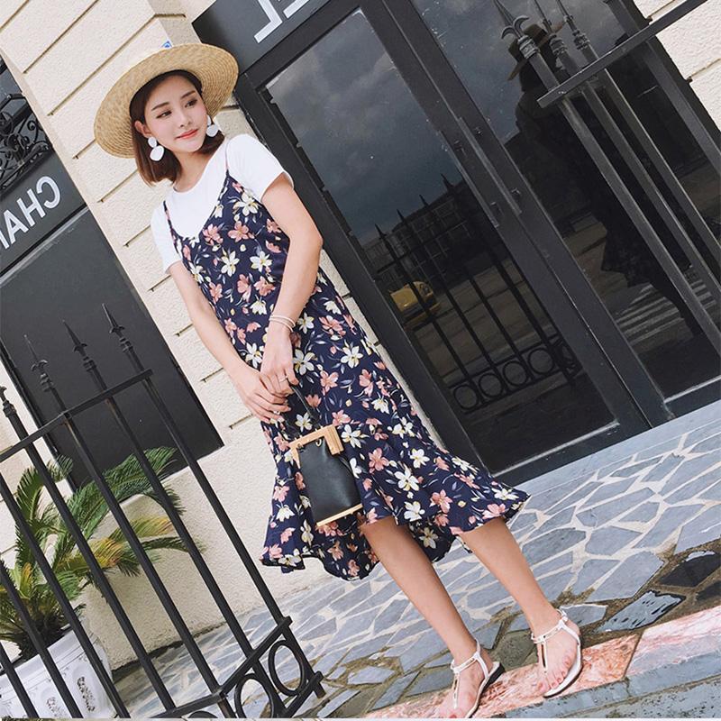【两件套】2018夏新款T恤+吊带雪纺连衣裙女收腰显瘦鱼尾百褶裙子