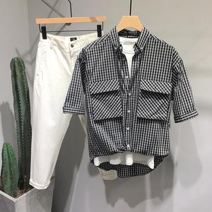 设计感小众夏季男士短袖黑白潮衬衫