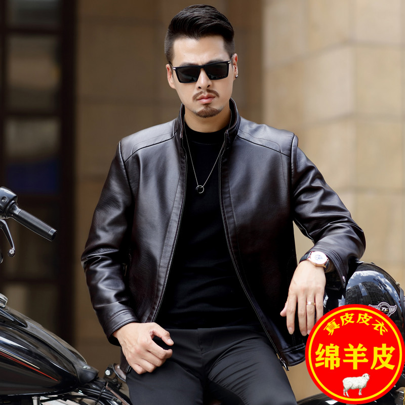 Haining leather garment mens middle-aged leather jacket in autumn and winter thickened Plush coat middle-aged and old mens large size coat