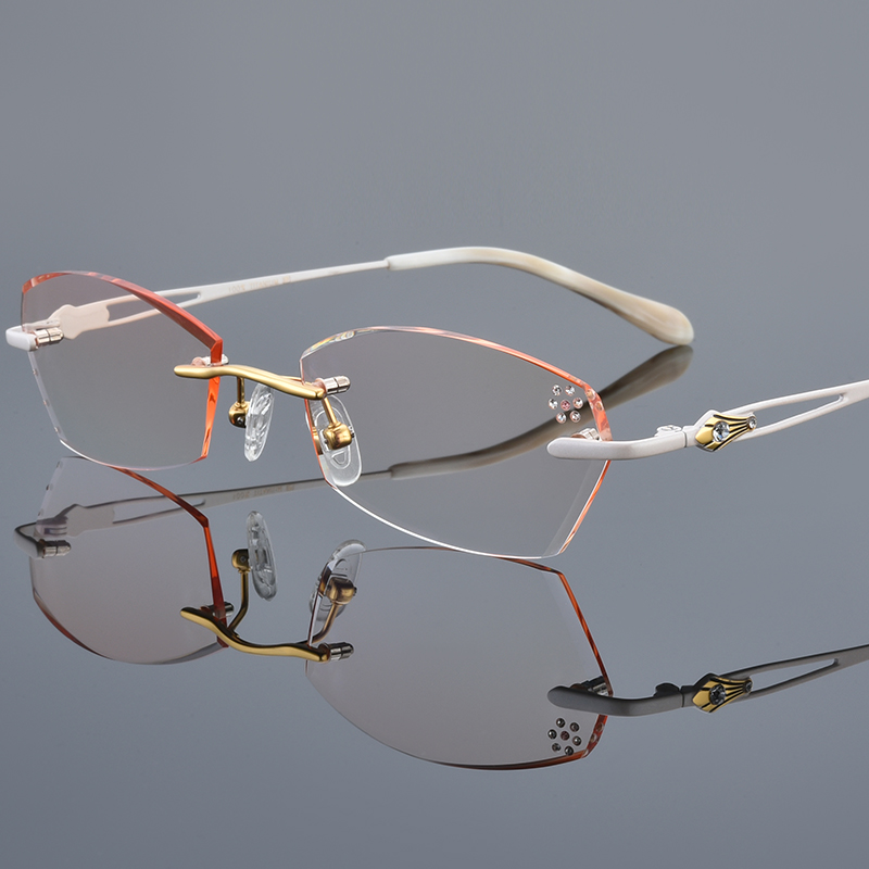 With finished myopic spectacle frame, female anti blue trimming glasses, ultra light frameless spectacle frame, discoloration and degree of eye
