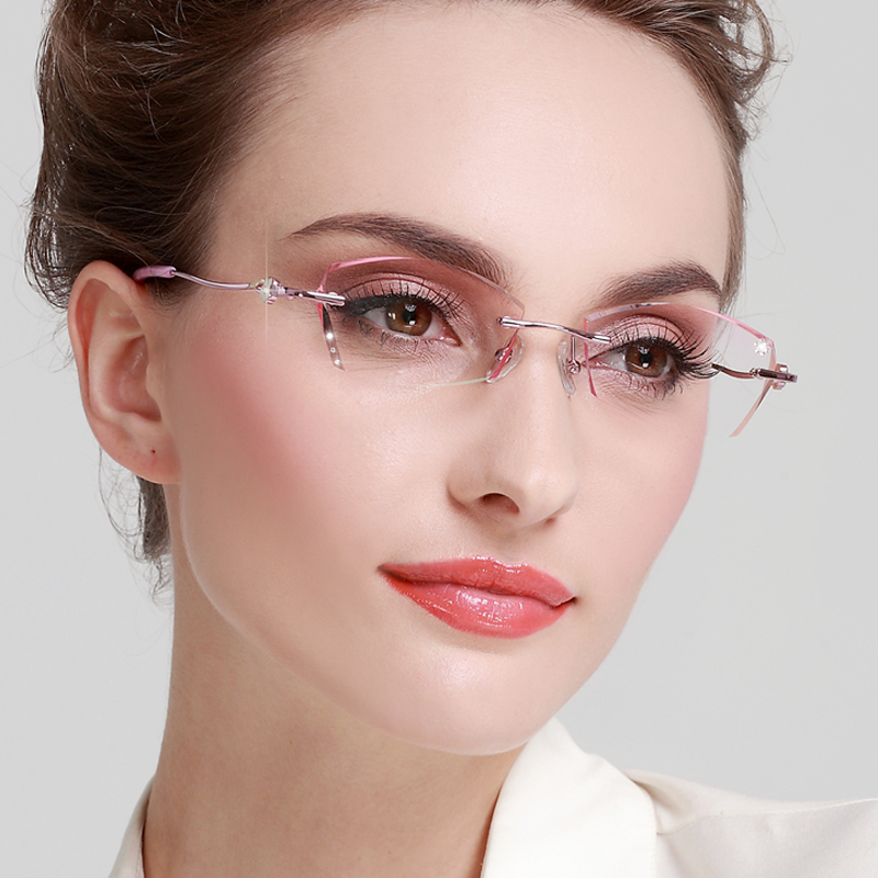 With glasses set with diamond cut edge, short-sighted frames, womens finished rimless frames, light color glasses, short-sighted lenses