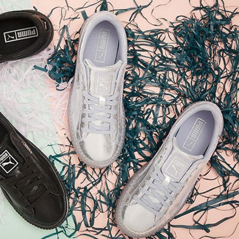 代�彪�R女鞋Puma Basket Platform Opulence 水晶底厚底板鞋�y色