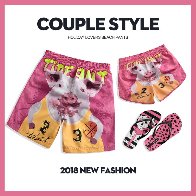 Trendy loose quick drying pig beach pants mens couple seaside holiday cartoon shorts large hot spring flat corner swimming trunks