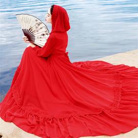 茶卡盐湖青海旅拍草原沙漠长裙子红色连帽雪纺长袖大摆度假连衣裙