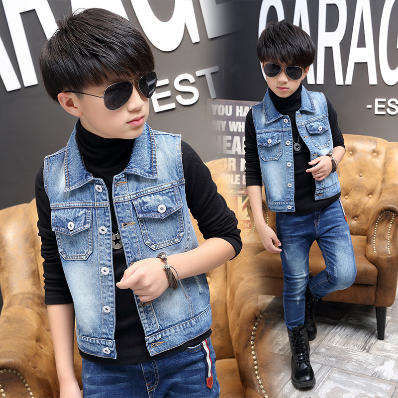 Childrens jeans vest, boys spring and autumn childrens wear, thin babys jacket, thin middle school childrens coat, 5-12 years old