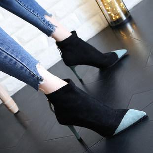 网红女鞋子潮2019新款晚晚女靴尖头拼色袜靴女细跟高跟短靴马丁靴