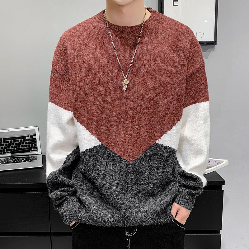 Autumn and winter new mens sweater Korean fashion base coat round neck loose Pullover multi color stitched sweater mens sweater