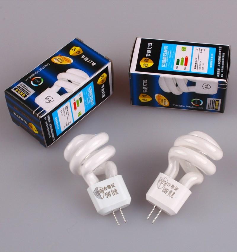镜前灯灯泡 G4节能灯泡5W二针插脚节能灯珠3W过道灯小螺旋节能灯