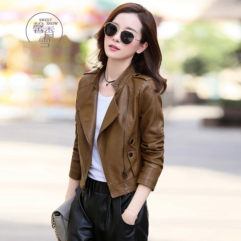 Xinxiangxue hitchhiker leather womens short womens spring and autumn slim fit fashion PU leather jacket small coat fashion