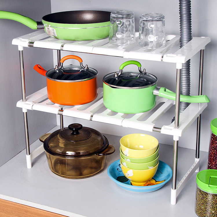 不鏽鋼可伸縮下水槽架廚房置物收納架鍋架層架 水槽置物架儲物架