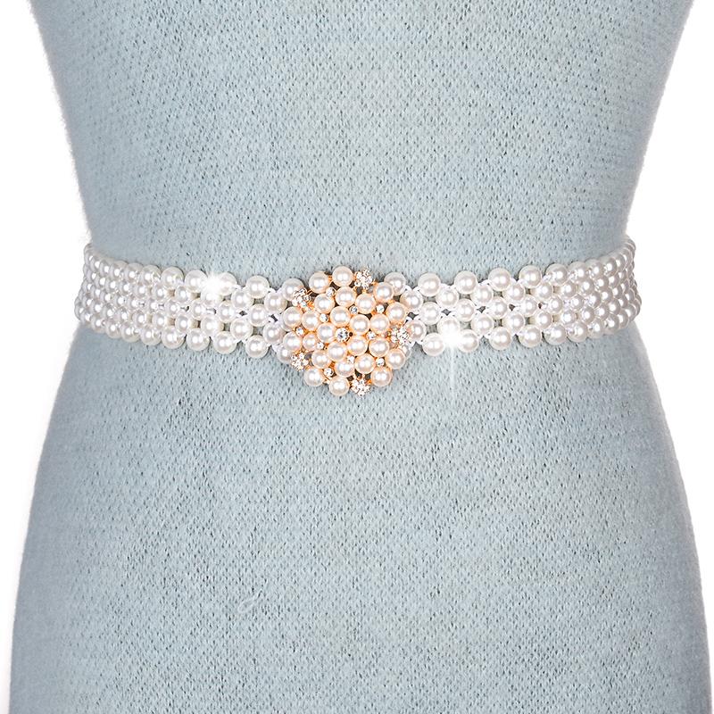 冷兵器女士皮带腰带时尚休闲优雅甜美仿珍珠松紧弹力腰链配连衣裙