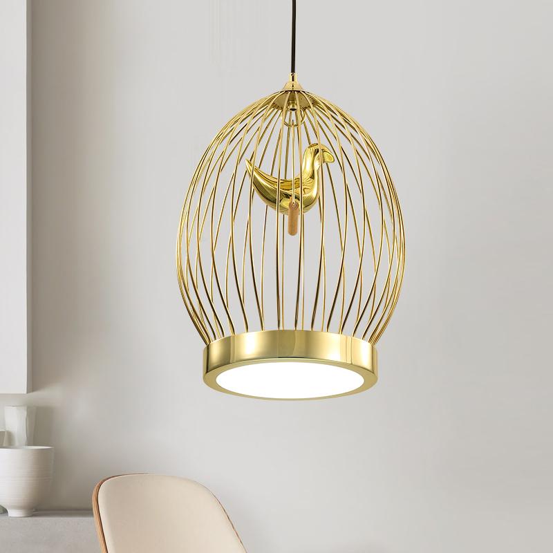 北欧创意金色鸟笼吊灯后现代简约餐厅卧室阳台设计铁艺装饰吊灯