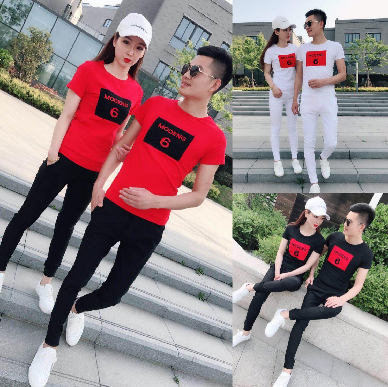 快手红人同款休闲运动套装夏社会精神小伙圆领短袖T恤男女情侣装图片
