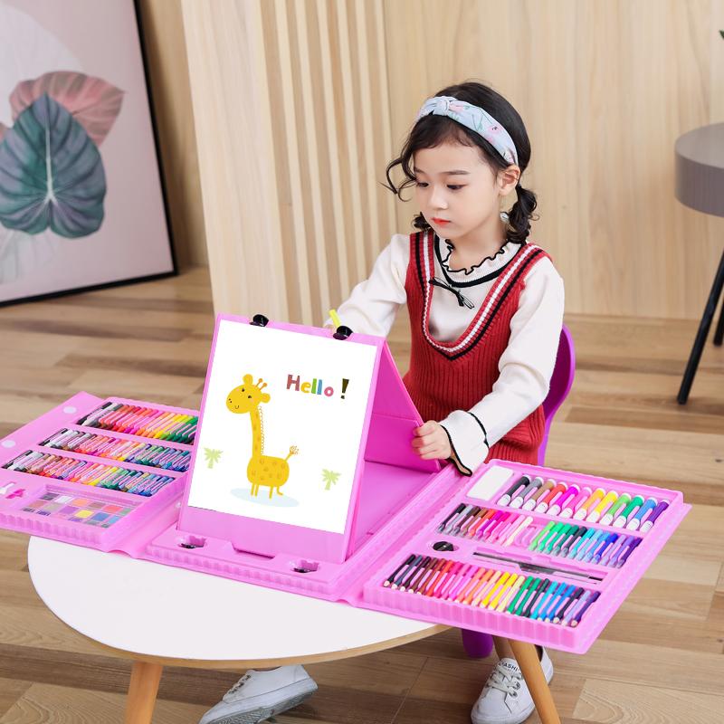儿童画笔套装美术用品画画工具蜡笔水彩笔套装小学生绘画套装女孩