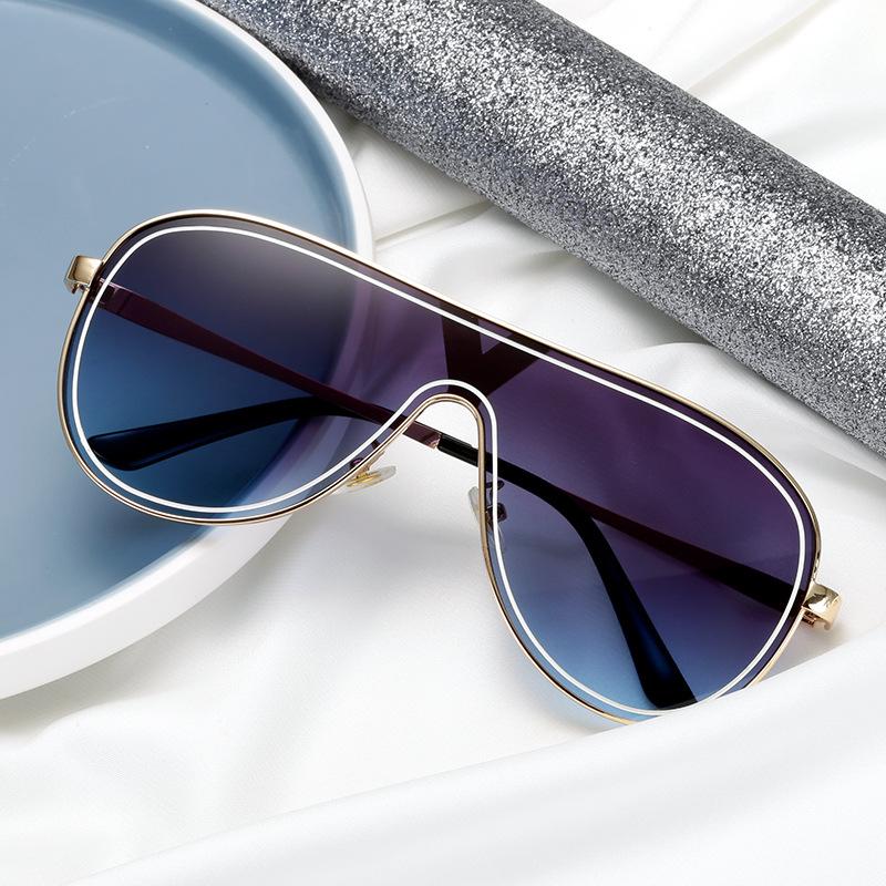 个性欧美连体眼镜一体风镜片眼镜大框宽脸墨镜渐变浅色太阳眼睛