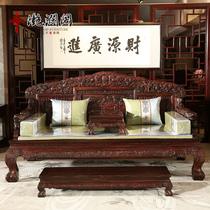 Mahogany Rohan Bed Black acid branch sculpture Rohan Bed Broad-leaved sandalwood hundred lion Rohan stay mahogany bed Boutique