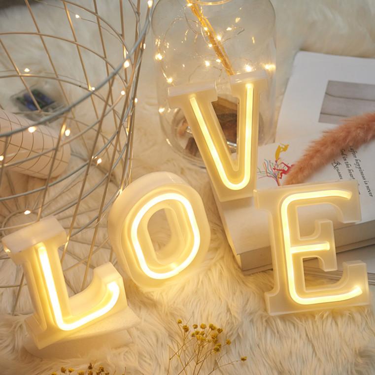 欧式LED字母霓虹灯派对生日礼物装饰创意摆件儿童房表白求婚搭配