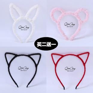 可愛貓耳朵髮箍網紅少女米奇耳朵髮卡頭飾洗臉化妝搞怪兔耳朵頭箍