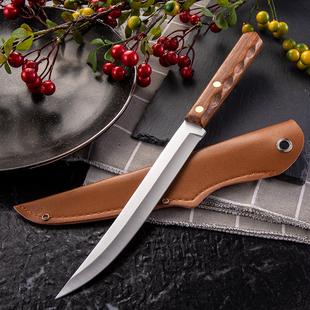 木柄瓜果刀多用不锈钢手扒抓肉削皮锋利加长水果吧台果档厨房 长款