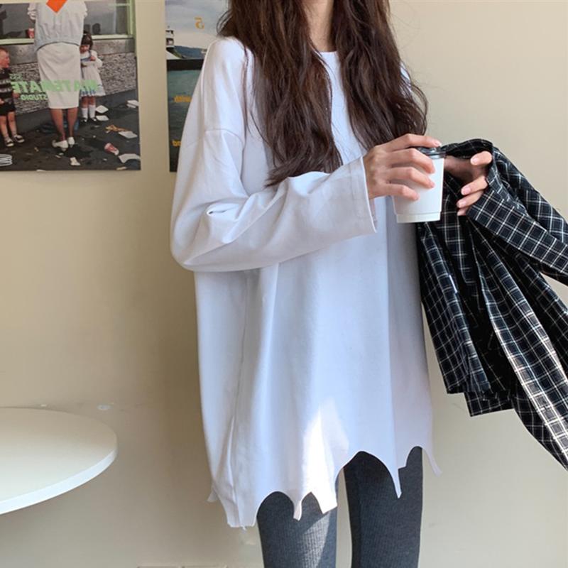 长袖t恤女秋2021年新款白色加绒打底衫女春秋冬装百搭不规则上衣