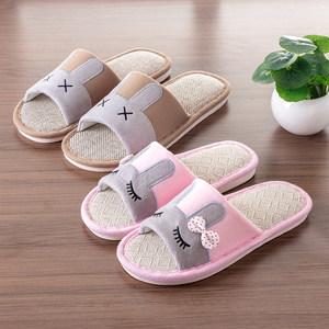 ?。家用凉拖鞋小孩子托鞋 棉麻女士夏季亚麻布包邮外穿室内儿童