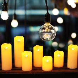 波浪斜口led电子蜡烛灯石蜡酒吧会所场景布置浪漫婚礼装饰假蜡烛