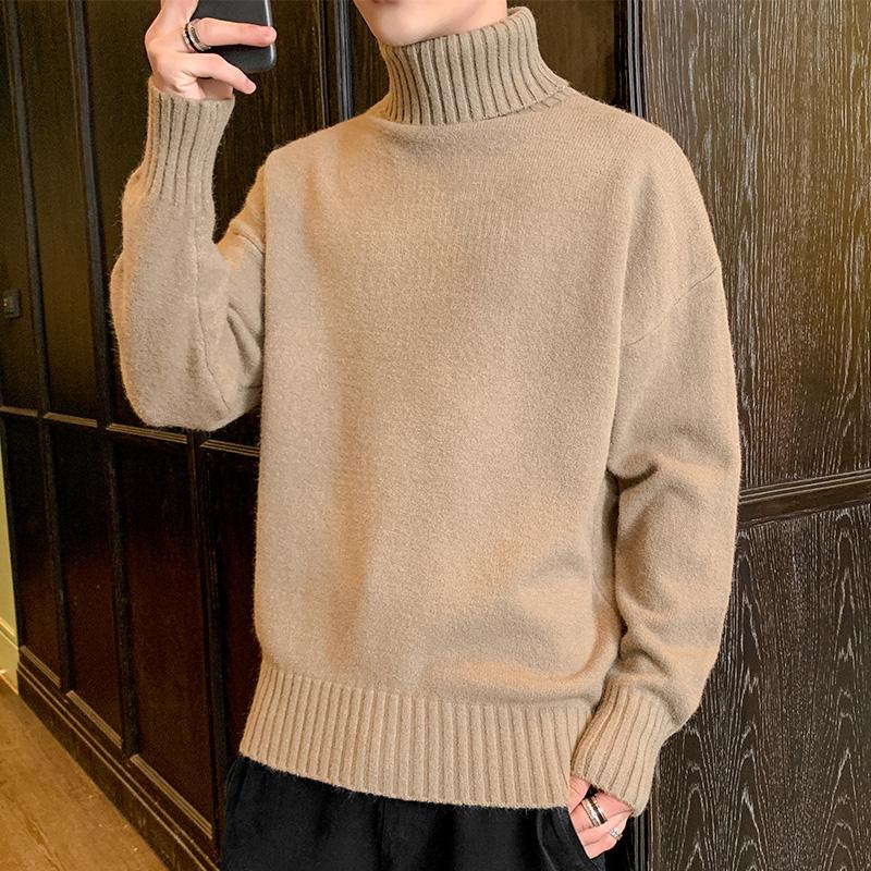 加厚高领毛衣男士两翻领针织衫线衣保暖衣服打底衫冬季男装纯色潮