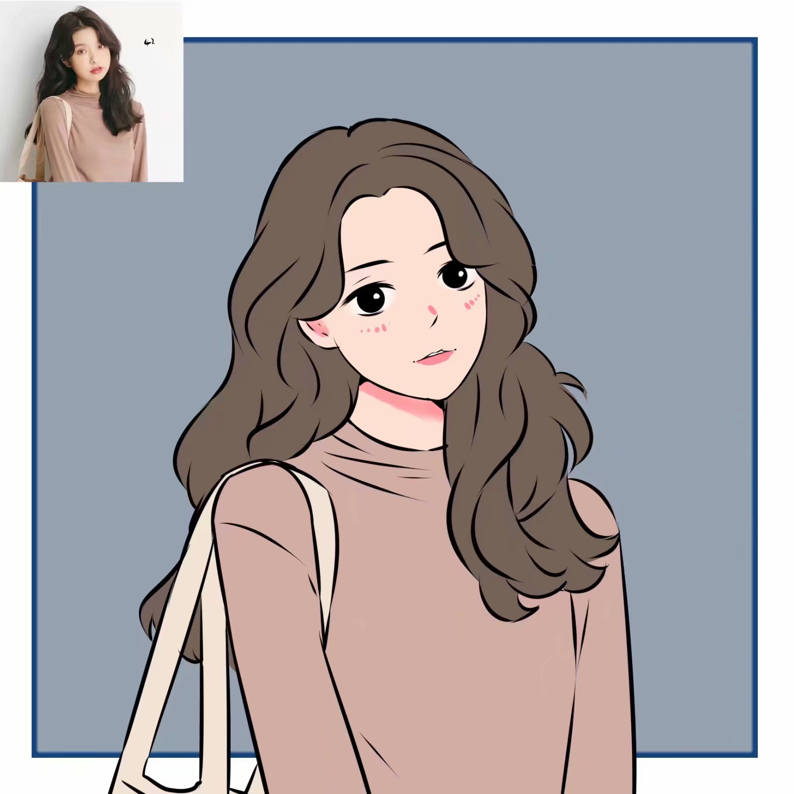 手绘Q版个人卡通漫画形象设计 照片转可爱情侣头像LOGO定制新品