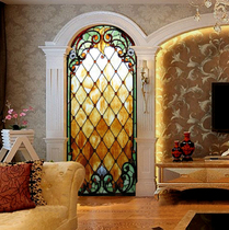 Church glass mural Art Glass gateway partition color glass ceiling painted glass doors and windows inlaid American