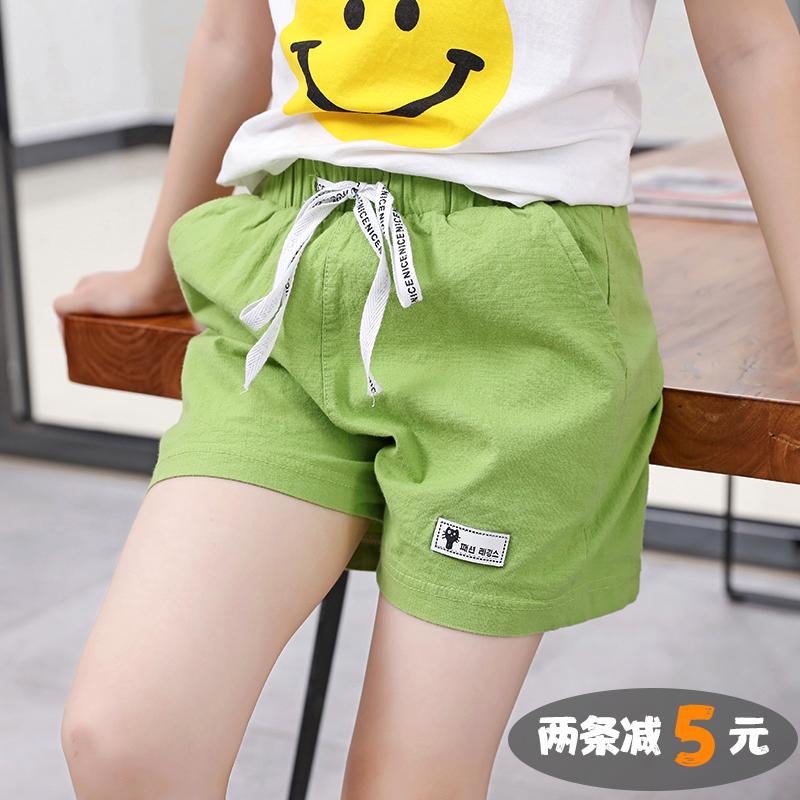 女童棉麻短裤夏季薄款儿童休闲裤子洋气热裤中大童纯棉运动裤外穿满39.80元可用20元优惠券