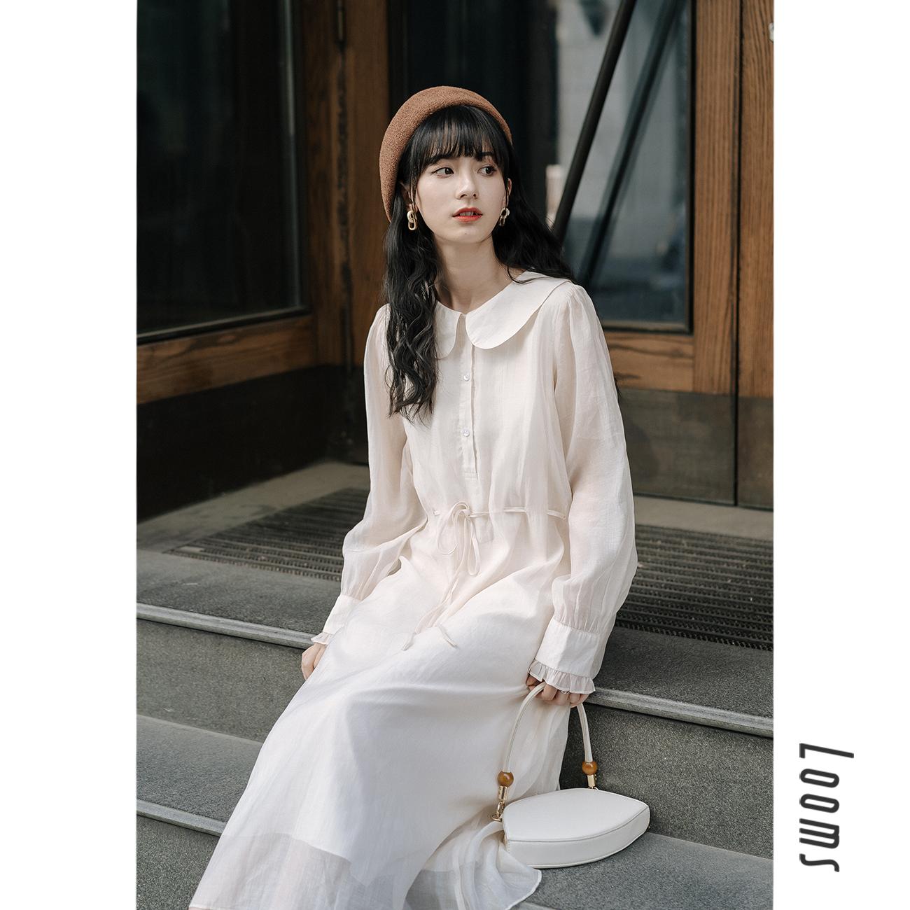仙女超仙长裙子日系甜美娃娃领长袖连衣裙女2019新款秋装仙女裙