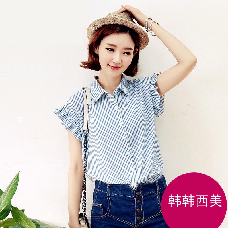 2019夏季新品女装条纹花瓣显瘦短袖衬衫女衬衣潮 1109#