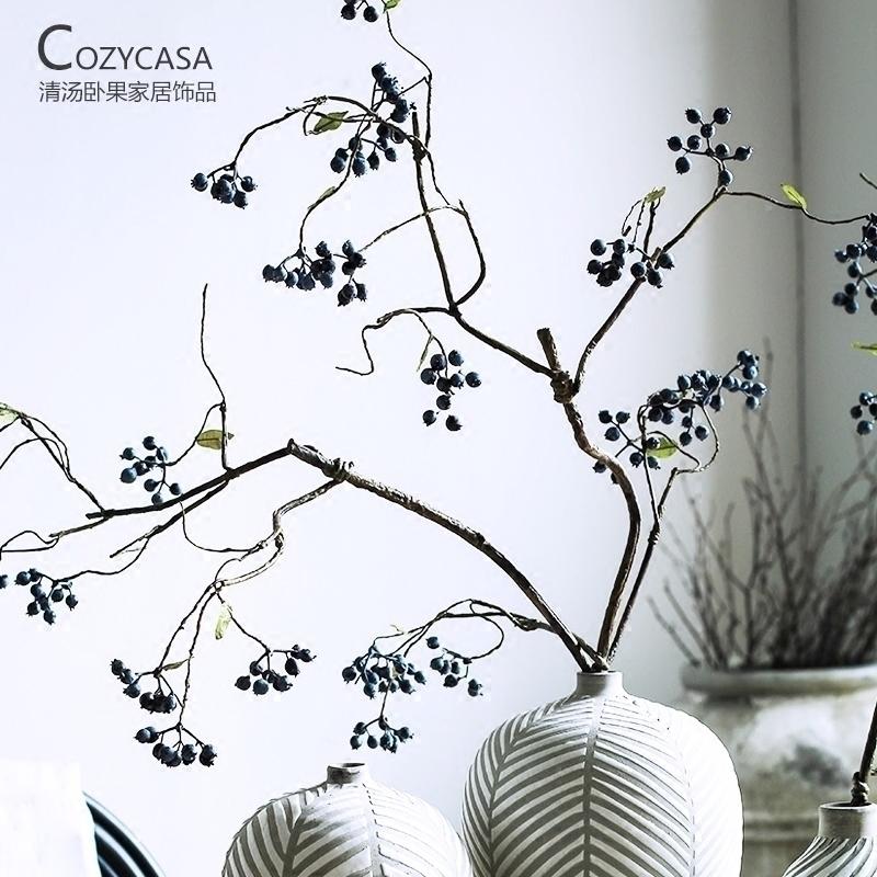 长枝仿真浆果蓝莓果冬青果室内植物绿植设计师款艺术室内桌面装饰