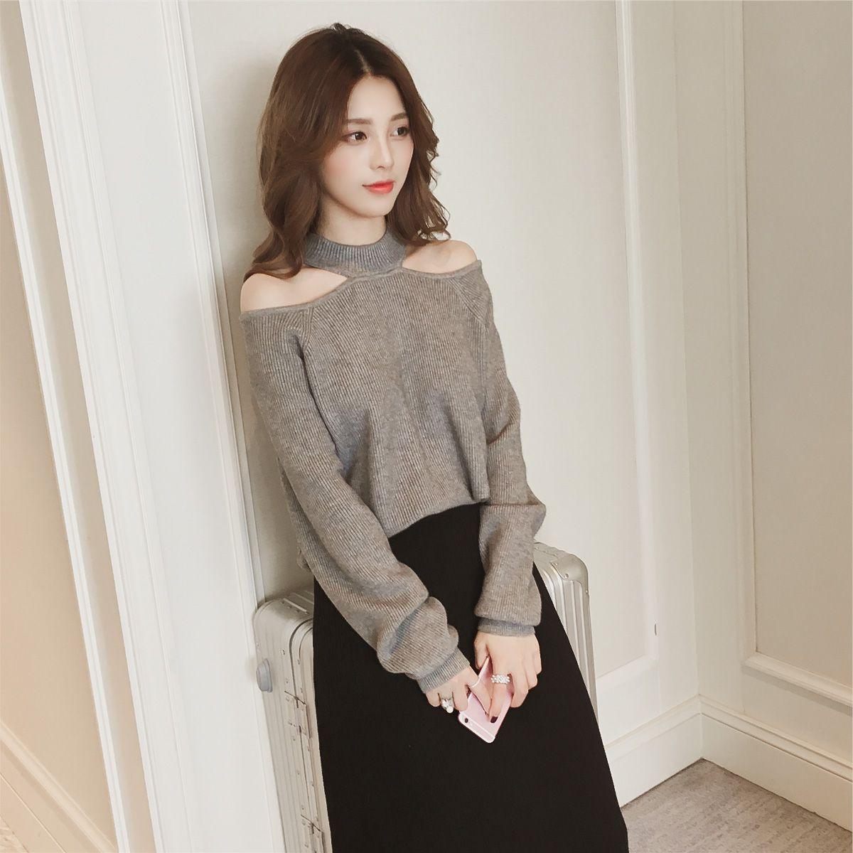 秋冬新款韩版露肩套头针织衫女性感挂脖上衣短款长袖一字领毛衣潮