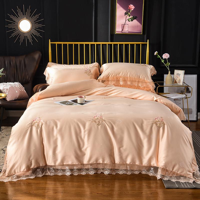 Lehui Korean Satin Embroidered all cotton four piece wedding bedding quilt cover sheet pure cotton set