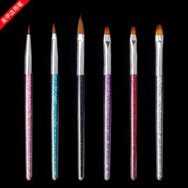 美甲笔刷工具套装彩绘笔光疗笔拉线水晶雕花点钻笔杆甲油胶花笔