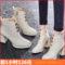 防水台高跟马丁靴女百搭时装短靴粗跟白色靴子保暖加绒冬季短筒靴