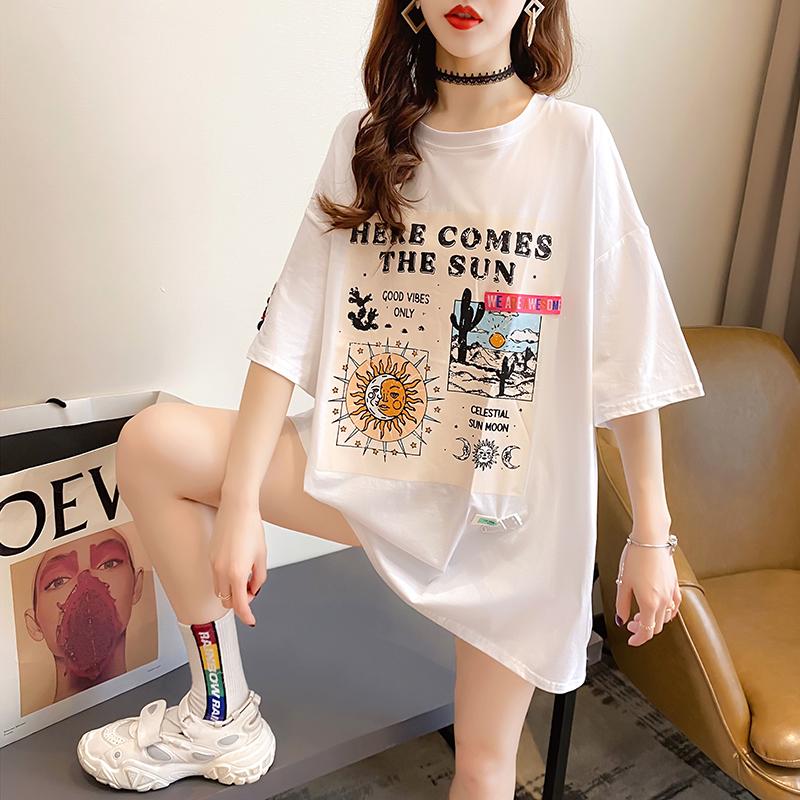 实拍2021夏装韩版宽松圆领纯棉印花上衣中长款大码女装短袖T恤女
