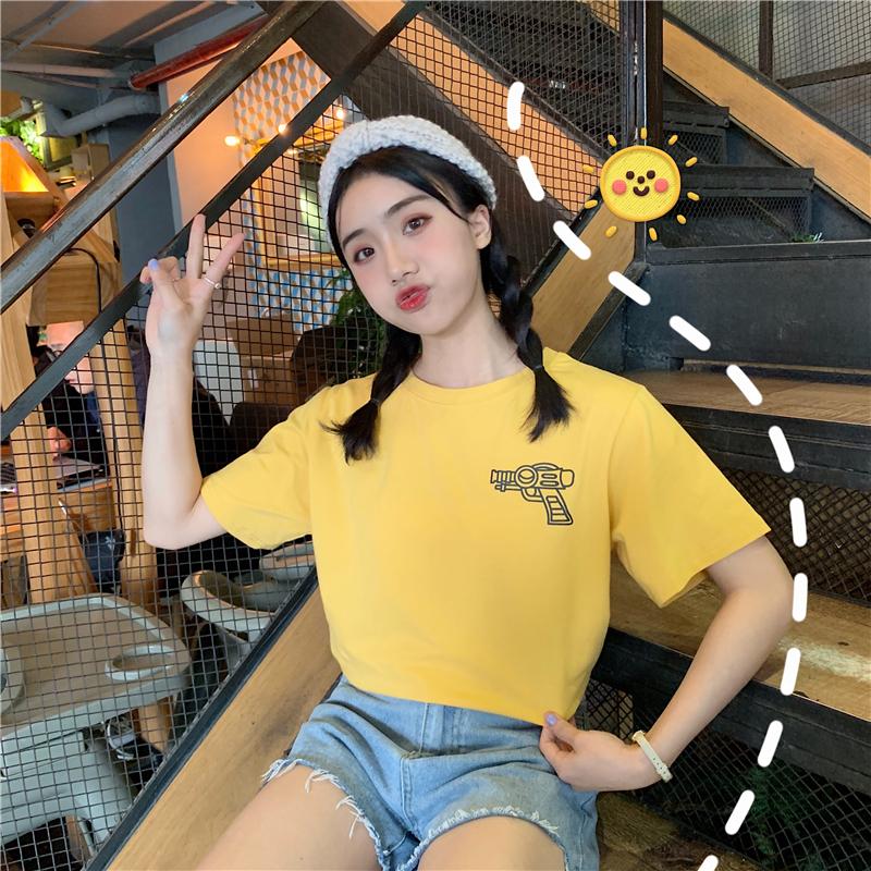實拍2019夏季學院風韓版寬松印花卡通字母圖案中長款短袖t恤女圖片