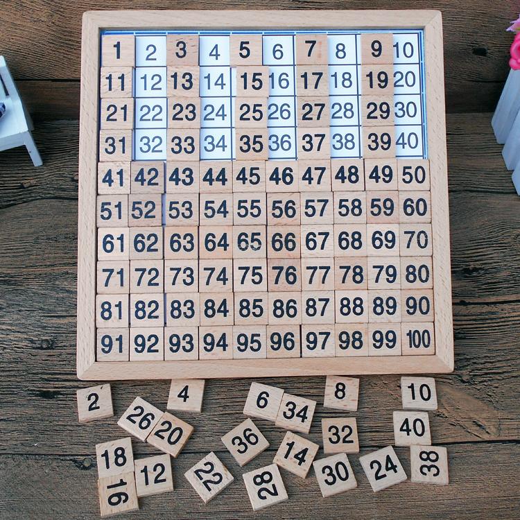 2-3-4-5-6岁儿童木制蒙氏教具蒙特梭利数字连续一百板1-100百数板