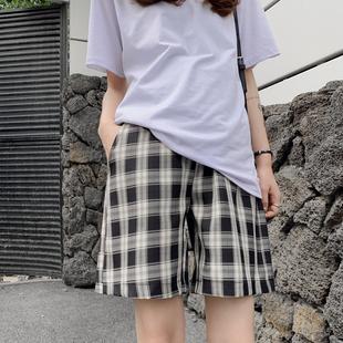 韩国夏装孕妇裤休闲裤格子短裤显瘦工装风直筒托腹五分中裤外穿潮