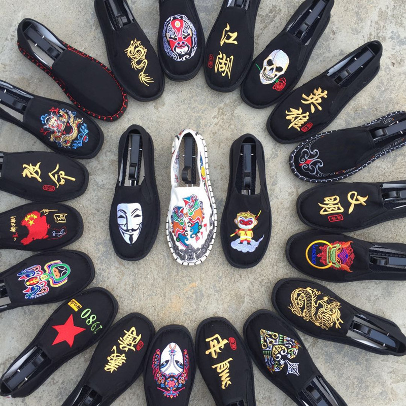 Fashion mens single shoes and new pattern womens shoes mens embroidered cloth shoes cloth art breathable womens ghost face canvas shoes