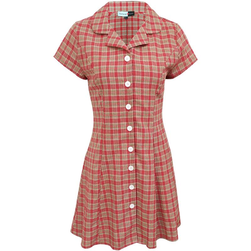下蛋喵 19夏法国小众红色格纹修身显瘦法式少女复古西装领连衣裙