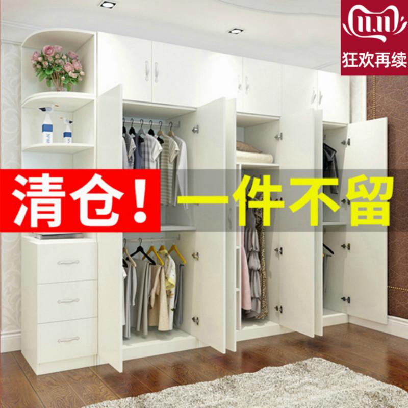 简约现代衣柜推拉门简易组装卧室大衣橱家用经济型全木质储物柜子
