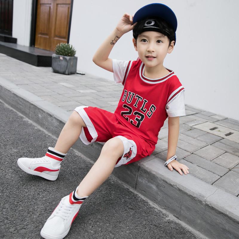 童装夏装男童套装2018夏季新款中大童儿童短袖运动休闲两件套潮衣