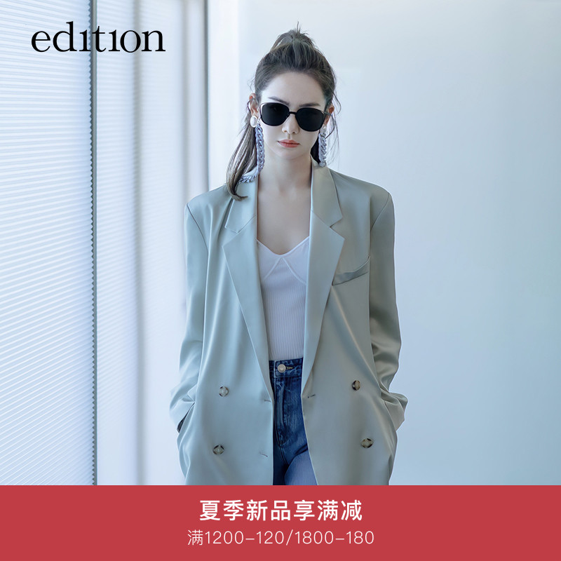 Qi Wei same edition blazer female 2021 spring new style acetate drape casual suit high sense