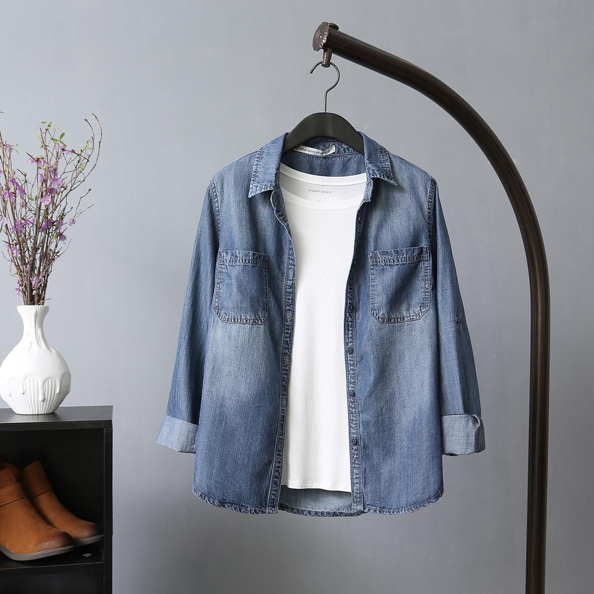 复古做旧牛仔衬衫 女长袖短款韩版修身20118春秋季新款外套上衣女